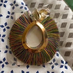 Gold rainbow fanned earrings